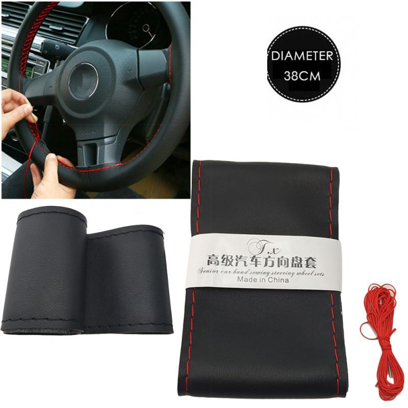 Противоскользящие Автомобильные украшения, искусственные Чехлы для руля, универсальные ремешки для рулевого колеса 37-38 см, «сделай сам»