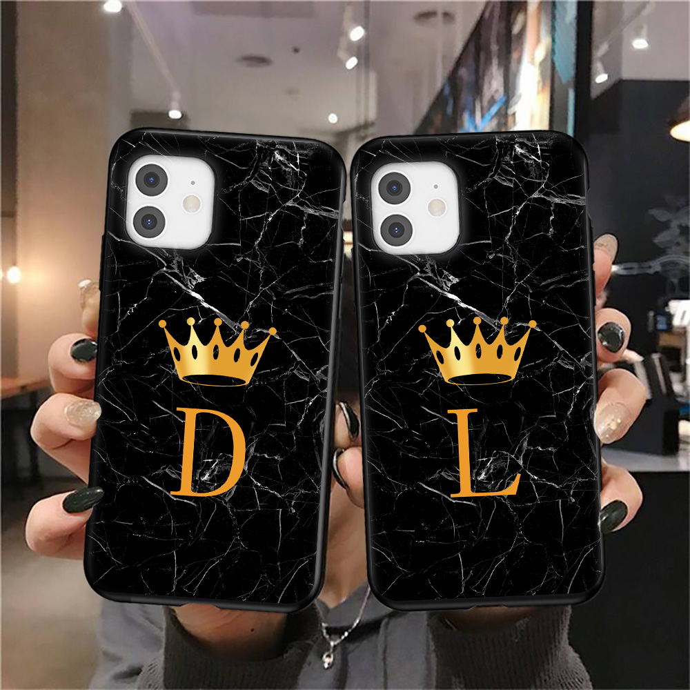 Custodia per telefono corona lettera A Z iniziale per iPhone 11 12 Mini Pro X XR XS Max 8 7 Plus SE 2020 marmo Texture coppie Cover morbida in TPU 2