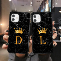 Initial Letter A Z Crown Phone Case For iPhone 13 11 12 Mini Pro X XR XS Max 8 7 Plus SE 2020 2021 Marble Texture Couples Soft TPU Cover