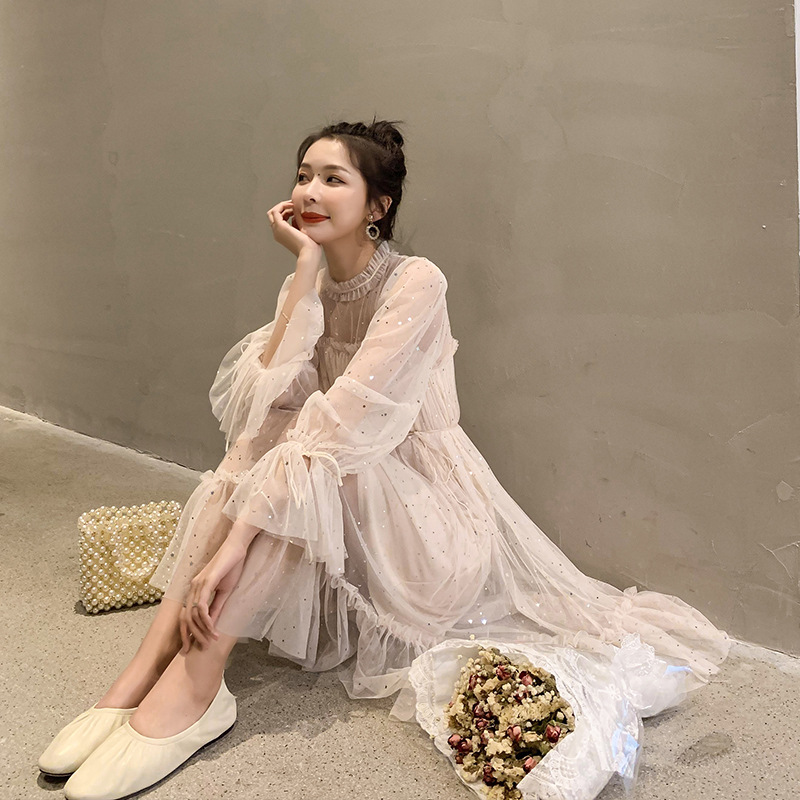 2019 Spring Summer New Style Dress Women's Korean-style INS Mesh Skirt High-waisted Students Princess Dress Elegant Fairy Skirt