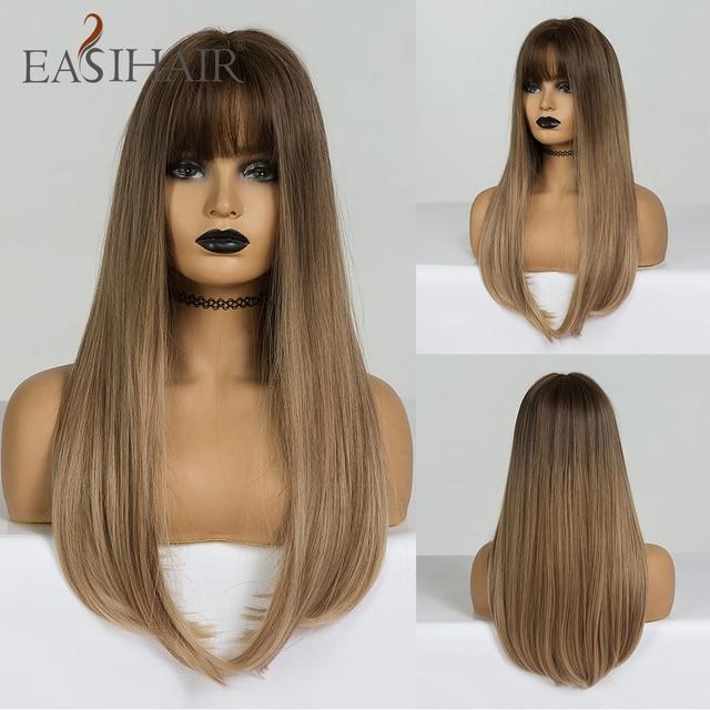 EASIHAIR uzun düz sentetik peruk kahverengi sarışın Ombre saç peruk patlama ile kadın Afro yüksek yoğunluklu isıya dayanıklı peruk