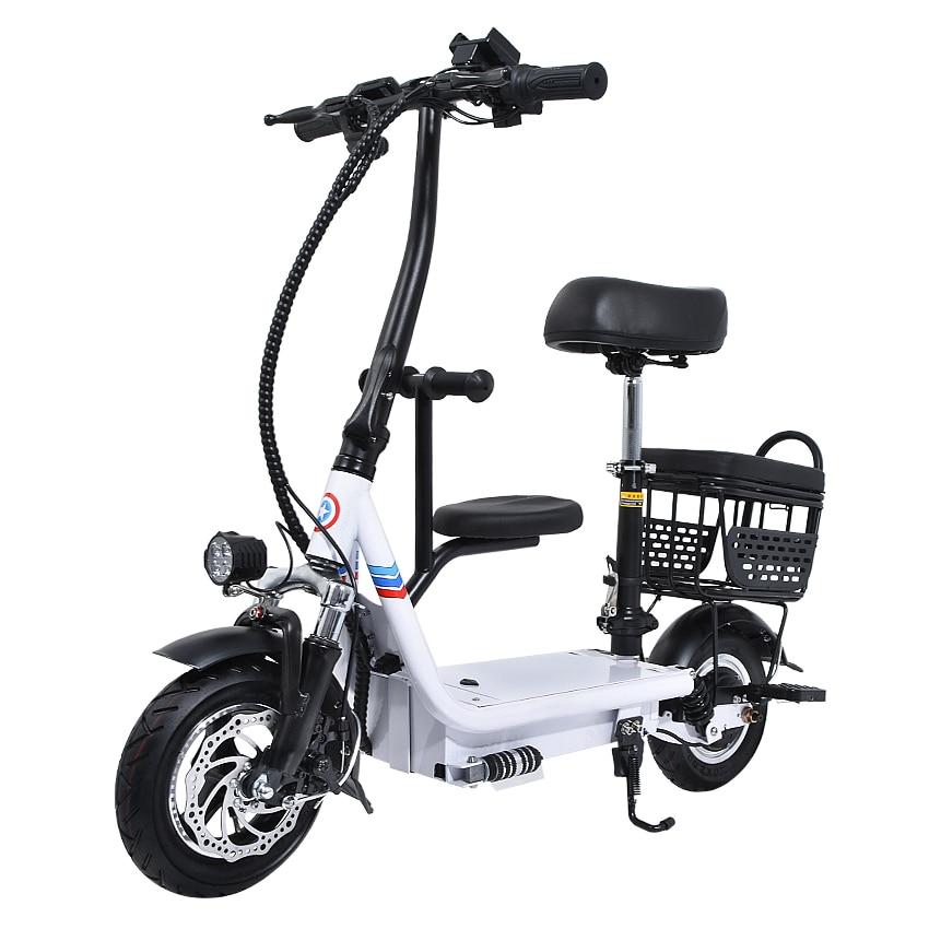48V 8Ah/10Ah/12Ah Three Seat Electric Scooter 10 Inch Two Wheel Instead Of Walking City Mini Adult Electric Bike Bicycle EBike