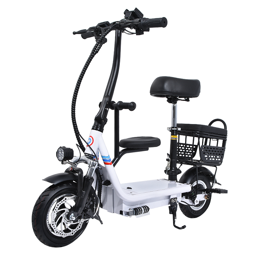 48V 8Ah/10Ah/12Ah Three Seat <font><b>Electric</b></font> <font><b>Scooter</b></font> 10 Inch Two Wheel Instead Of Walking City Mini Adult <font><b>Electric</b></font> Bike Bicycle EBike image