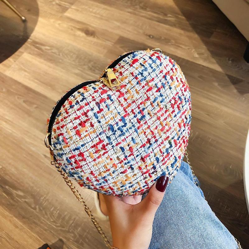 Fashion Women Woolen Crossbody Bag Heart-shaped Design Small Chain Shoulder Bags Sac A Dos Bolsas Feminina Mujer Sac A Main