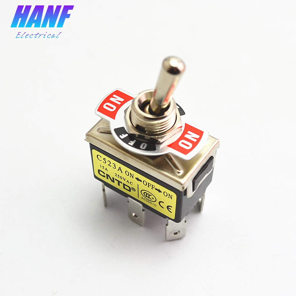 5pcs DPDT 6 Pin 3 Position Toggle Switch Hand Control Valve ON-OFF-ON Mini Toggle Switch with 12mm Mounting Hole 250V 15A