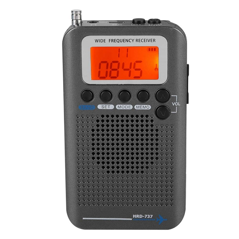 New Portable Aircraft Radio Receiver,Full Band Radio Receiver - AIR/FM/AM/CB/SW/VHF,LCD Display With Backlight,Chip Has A Powerf
