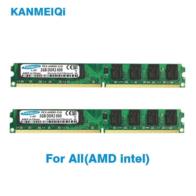 KANMEIQi DDR2 4GB (2 pièces X 2 GB) PC2-6400U 800MHZ 533/667MHZ pour mémoire de bureau DIMM RAM 240pin 1.8V