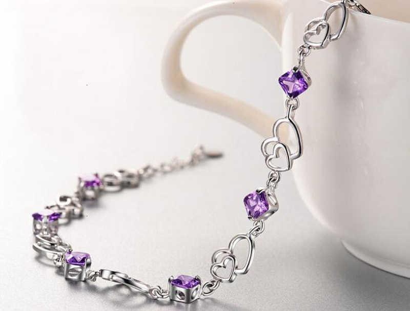 Yanhui シルバー 925 ジュエリーエレガントなブレスレットの宝石 925 スターリングシルバーナチュラルパープルアメジストかわいい女性ブレスレット