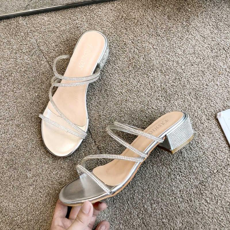 Nữ Ngọt Ngào Pha Lê Lấp Lánh Giày Sandal Hở Ngón Chân Chunky Gót Dép Trượt Mùa Hè Túi Đeo Chéo Thời Trang Giày Sandal Con La