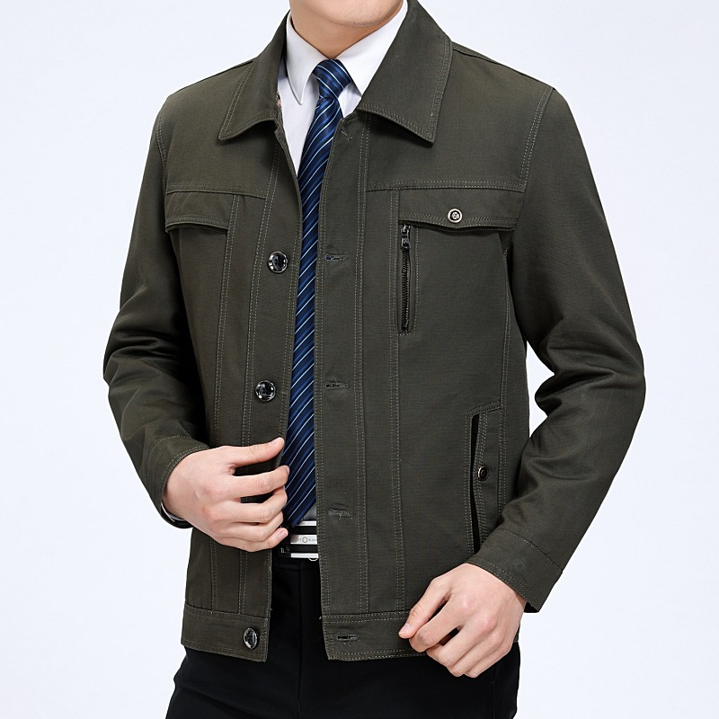 2020 Spring Autumn Jacket Men Big Size With Buttons Brand Middle-aged Man Classic Casual Jackets