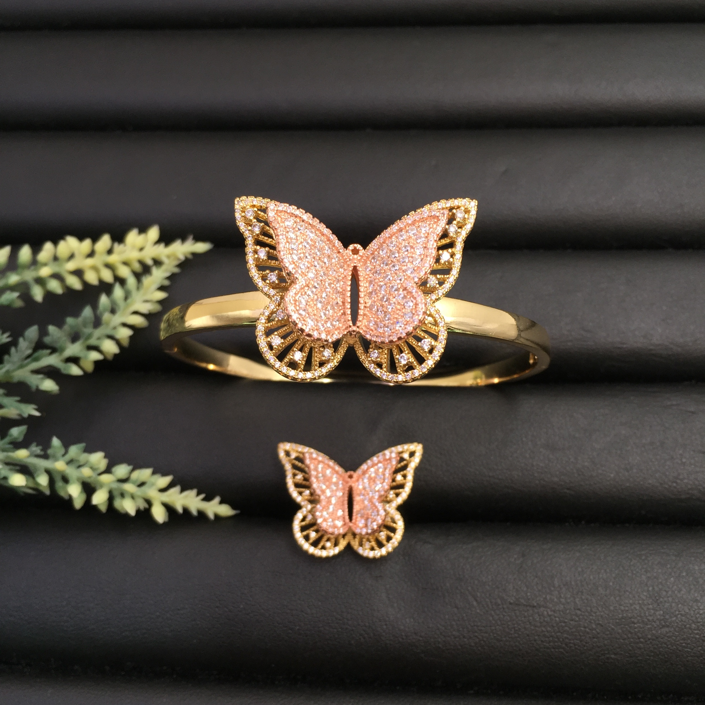 Lanyika Jewelry Gorgeous Distinctive Flutter Butterfly Plated Party Bangle With Ring Banquet Daily Best Gift