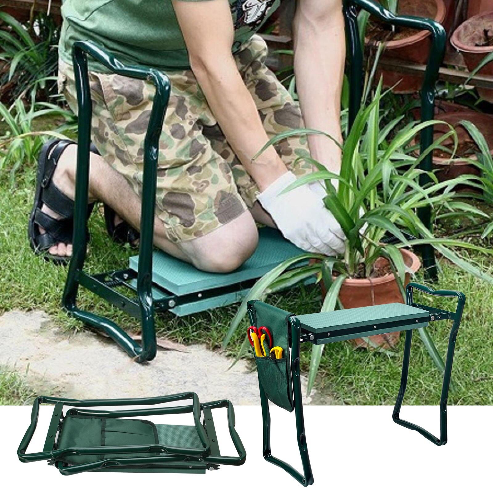 Folding Garden Chair Kneeler Seat Stainless Steel Garden Stool with EVA Kneeling Pad Bearing 150KG