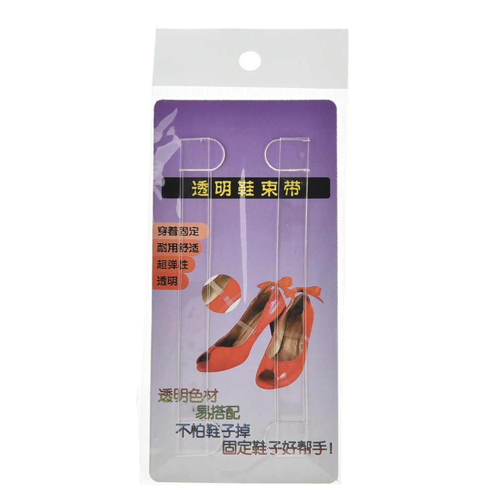 Accesorios de zapatos invisibles elásticos de silicona transparentes cordones para zapatos de tacón alto, cordones de zapatos transparentes correas de cordones 1 par