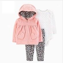BABY GIRL CLOTHES z długim rękawem z kapturem płaszcz + body bawełna + spodnie nowonarodzony chłopiec zestaw zimowa, jesienna odzież dla niemowląt 2020 noworodki strój