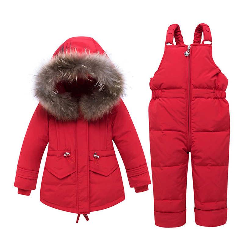2019 תינוק בני parka בנות בגדי ילדים למטה מעיל ילדי חליפת שלג חם הלבשה עליונה + Romper בגדי סט רוסית חורף מעילים