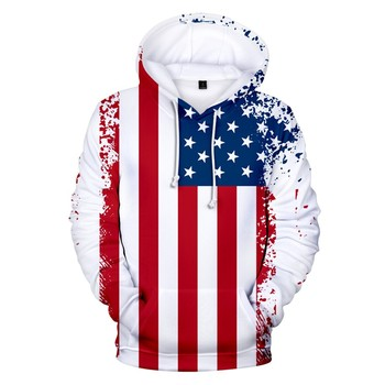 Men's Hoodies Men's 3d Flag Printed Long Sleeve Couples Hoodies Sweatershirt Top Blouse Men Casual Loose Hooded Sweatshirt 1