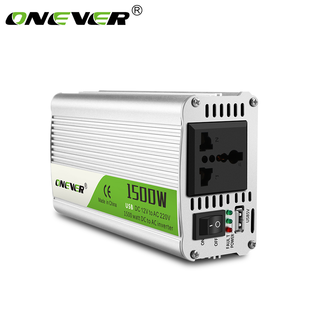 Onever Inverter DC 12V to AC 220V 1500W Car Power Inverter Converter Power Supply Modified Sine Wave Power with Intelligent Fan