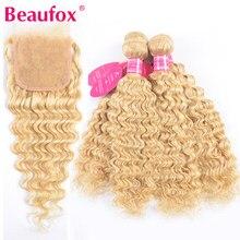 Mèches malaisiennes Remy avec Closure – Beaufox, cheveux très ondulés, 613 cheveux naturels, blond