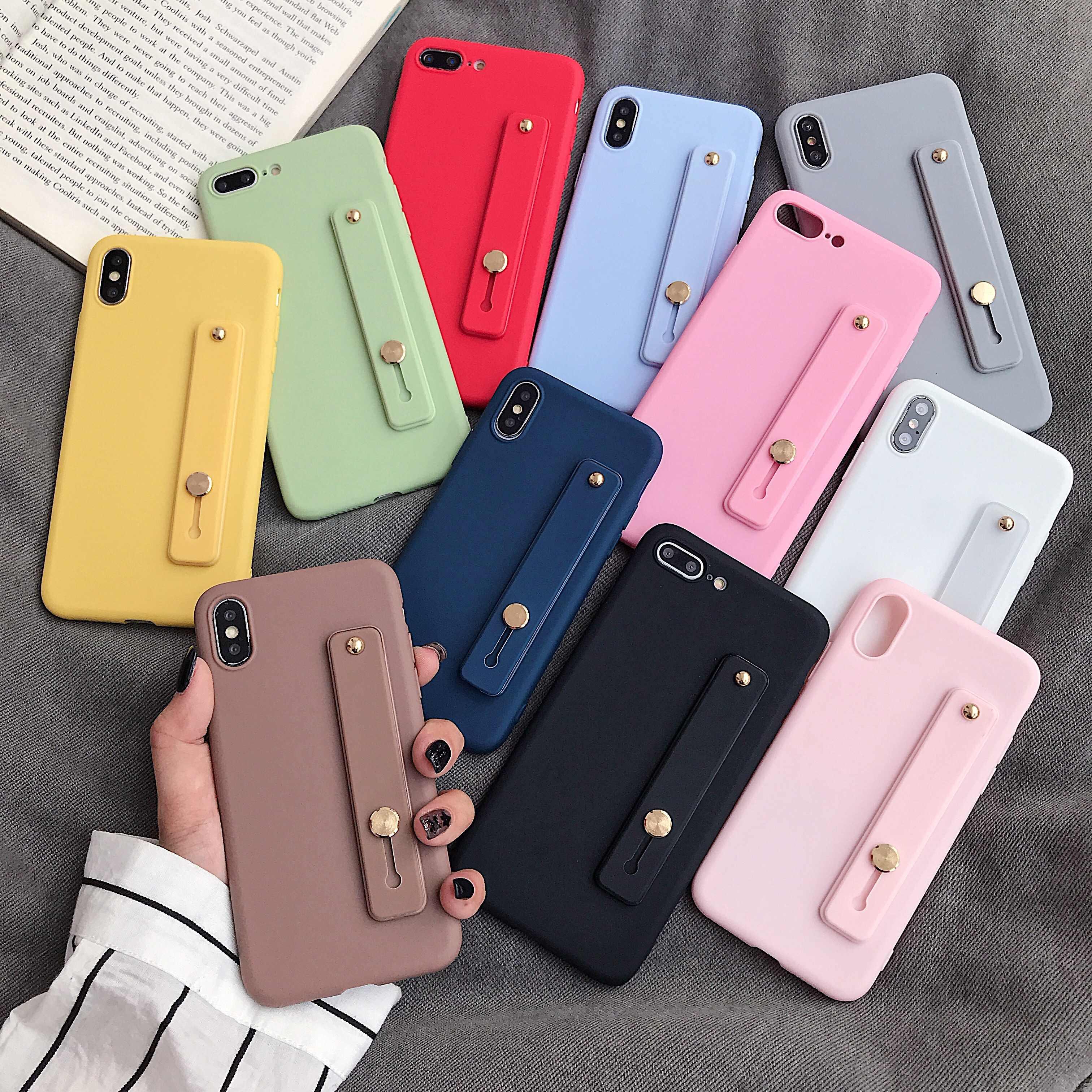 حلوى لون المعصم حزام قوس لينة قضية الهاتف آيفون X XR XS ماكس 6S 7 8 Plus 11 لسامسونج S8 S9 S10 e S20 نوت 10 لايت +