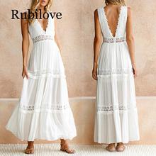 Rubilove Deep V Elegant White Lace Sexy Dress Women Backless Hollow Out Summer Long Maxi Dresses Female Clothing S M L XL