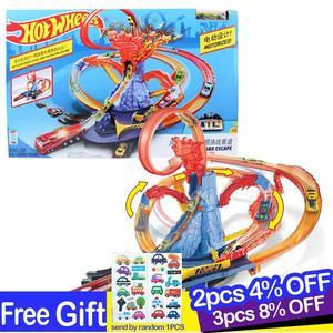 Image 1 - Hot Wheels New City Electric Car Track Volcano Escape Theme Raceway Challenge Toy Car Set for Children Boys Oyuncak Araba FTD61