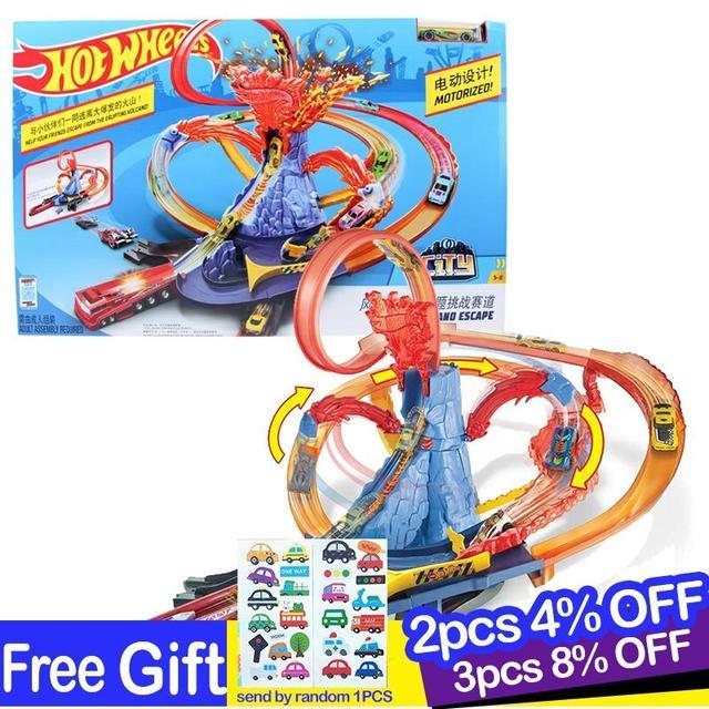 Hot Wheels Pista de coches eléctricos de ciudad para niños, Volcán de Escape, juguete de desafío, juego de coches para niños, Oyuncak Araba FTD61
