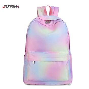 Rainbow Bag Backpack Womens Canvas 2020 Girls Waterproof Laptop Bagpack Teens Medium Schoolbag Travel Daypack Rucksack