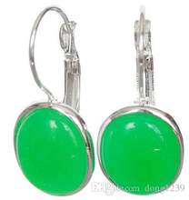 "Noble Lady Handmade Silver 925 Green Jade Natural Pendants Earrings 1 1/10 ""(China)"