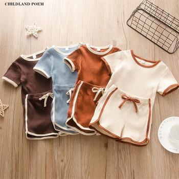 Conjunto de ropa de bebé de verano recién nacido bebé niñas niños ropa de conjuntos para bebés mameluco del bebé + Pantalones cortos chándales conjuntos