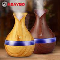 Diffuseur d'huile essentielle d'arome électrique d'usb de KBAYBO 300ml humidificateur d'air ultrasonique LED de Grain en bois allume le diffuseur d'arome pour la maison