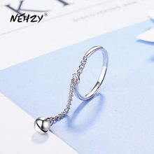 NEHZY-Anillo de Plata de Ley 925 para mujer, joyería de moda, cadena de alta calidad, campana, anillo de tamaño ajustable, abierto