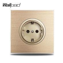 Wallpad – prise électrique murale L6, panneau métallique en aluminium brossé or, Standard ue