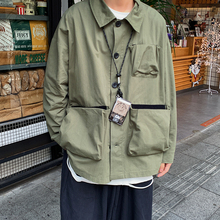 Spring Tooling Jacket Men's Fashion Solid Color Multi-pocket Jackets Mens Streetwear Wild Loose Hip Hop Bomber Men