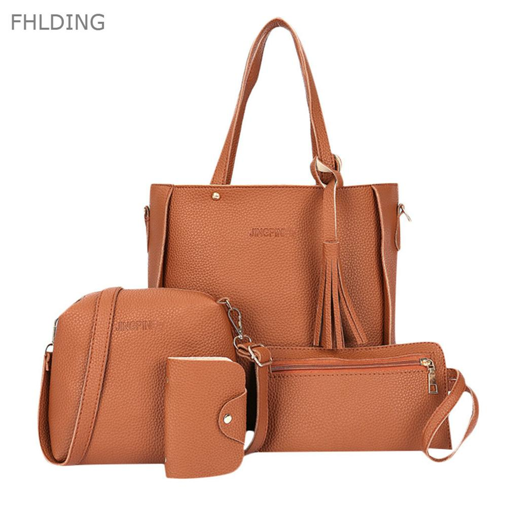 Shoulder-Bag Women Bag Vintage 4pcs/Set Fashion Luxury  title=