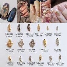 50 шт./пакет Металлизированное украшение для ногтей 3D амулеты различные Листья Перо Дизайн ногтей украшения