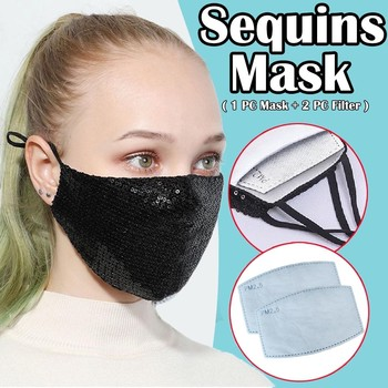 fashion Sequin Mouth mask women filter Mascarilla Pm 2.5 Reusable Mascarillas De Tela Lavab sliver pink sequined face masks