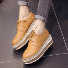 British Style Women Oxfords Lace Up Brogue Shoes Fashion Flat Platform Shoes for Women Flats Leather Casual Shoes Zapatos 2.5 hot sale carved british style oxford shoes for women fashion sweet flat lace up women oxfords ladies casual four seasons shoes