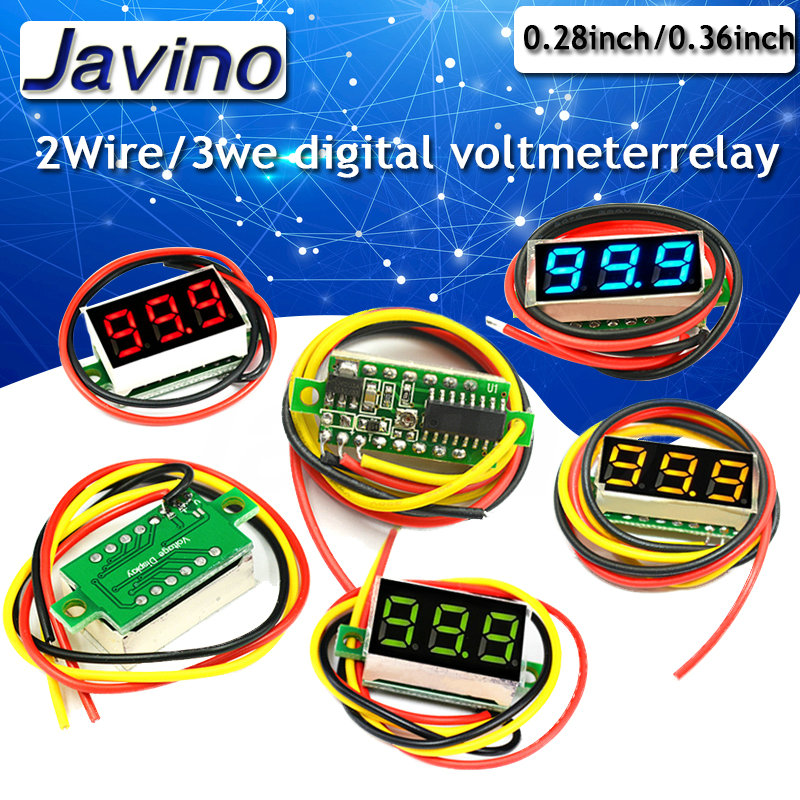0.36 Inch 0.28inch 2 Wire 0-30V / 3 Wire DC 0V-100V Voltmeter Digital Meter Variable Precision Electric Quantity Display Element