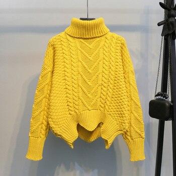 Jersey Extra grueso de cuello alto, suéter coreano Harajuku de otoño e invierno para mujer, Jersey de punto blanco liso informal holgado