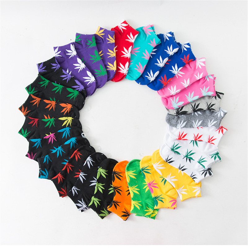 Hot Sale! Men Socks Cotton Spring Summer And Autumn Colorful Brand Weed Sock Colorful Male And Man White Black Short Socks