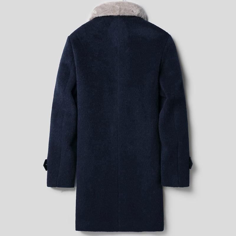 Wool Coat Winter Jacket Men Real Mink Fur Collar Woolen Coats Male Windbreaker Warm Jackets Plus Size LSY022363 MY1682