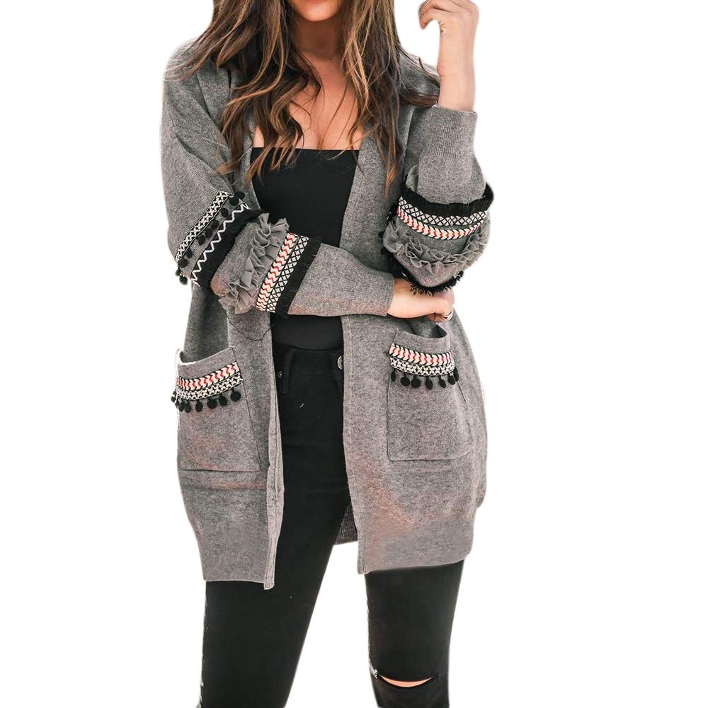 OEAK  2019 New Women Long Sleeve Knitted Cardigan Sweaters Casual Autumn Coats Outwear Fashion Winter Harajuku Veste Femme