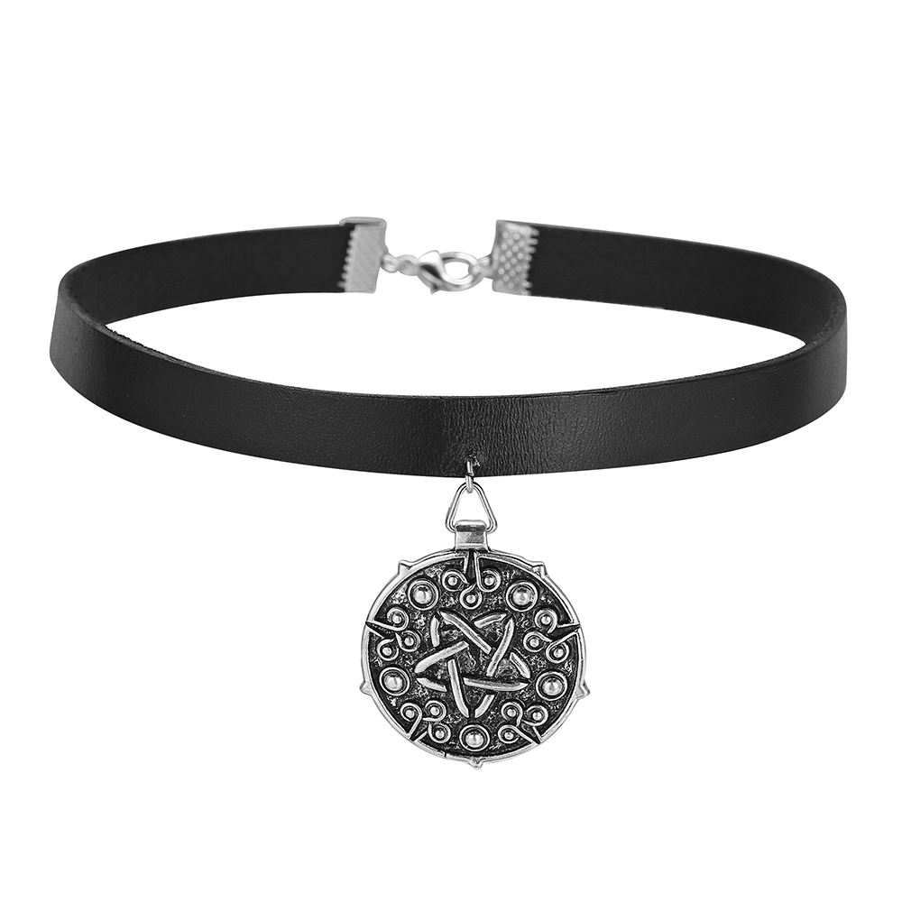HANRESHE Witcher 3 Medallion 32cm+5cm Leather Choker Necklace the Wild Hunt Game Cosplay Jewelry Gothic Gold Pendant Women