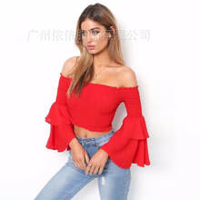 Spring and summer new style European and American fashion slash neck top Elastic trumpet sleeve cropped top layered trumpet sleeve botanical top