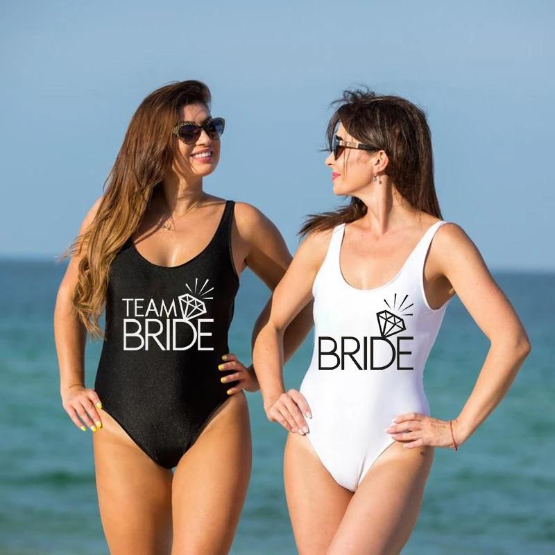Bestag Team Bride Letter Print Diamond Pattern One Piece Swimsuit Bathing Suits