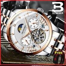 Switzerland BINGER лучший бренд класса люкс Мужские автоматические часы ролевые часы с сапфирами механический скелет relogio tourbillon