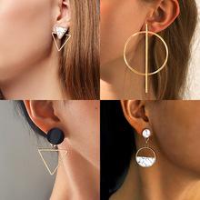 Koreański komunikat okrągły spadek kolczyki dla kobiet 2019 biżuteria Vintage geometryczne złote serce asymetryczne długie kolczyki Brincos tanie tanio POXAM Ze stopu cynku Fashion Drop Earrings Kobiety TRENDY Moda Metal Irregular Earrings Geometric Earrings Gold Earrings