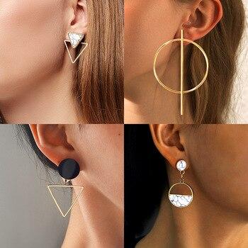 Korean Erklärung Runde Tropfen Ohrringe Für Frauen 2019 Mode Schmuck Vintage Geometrische Herz Gold Asymmetrische Lange Ohrring Brincos