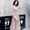 Женское вечернее платье с блестками, элегантное бальное платье до пола с V-образным вырезом и рукавом до локтя, платье на молнии сзади для вы...