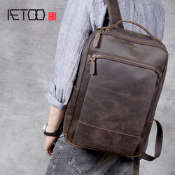 AETOO Vintage mad horse leather shoulder bag, handmade head leather backpack, men's leather computer bag